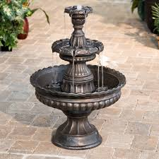 Lighted Water Fountain Outdoor Decor Decorating Alluring Water Fountains Lowes With Solar