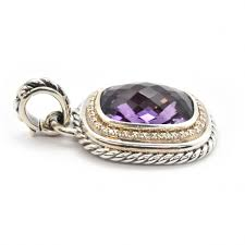 jewelry david yurman sterling silver amethyst and diamond pendant from albion collection image
