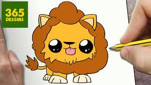 Comment Dessiner Lion Kawaii Tape Par Tape Dessins Kawaii