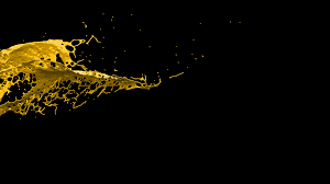 Black Blackground 4k Slow Motion Yellow Paint 3d Splash On Black Background With Alpha