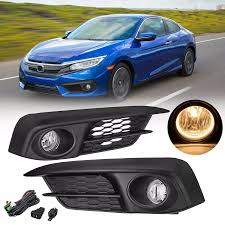 2016 Civic Fog Light Bulb Pair Car Front Bumper Fog Lights Kit With Harness Bulbs Amber For Honda Civic 2 4dr 2016 2017