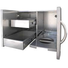 cal flame outdoor kitchen 30 in stainless steel door and drawer combo