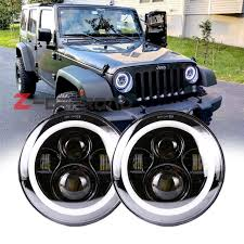 for jeep wrangler unlimited jk 4 door offroad 7 led h4 headlight replacement with white