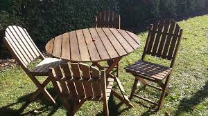 garden furniture set small round table and four fold up chairs
