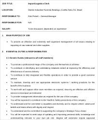 Logistics Clerk Job Description Sample 7 Examples In Word Pdf