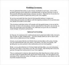 Wedding Ceremony Templates Free 9 Wedding Ceremony Templates Free Sample Example Format