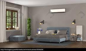 Blaues Und Braunes Modernes Schlafzimmer Stock Photo 25546330