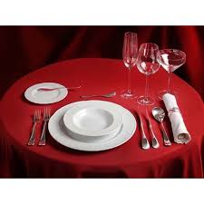 color swatch card red polyester round tablecloth set for dinner