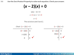 9 6 use the zero property to solve each equation check your answer