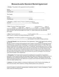 Apartment Rental Agreement Sample Free Massachusetts Standard Residential Lease Agreement Template 14