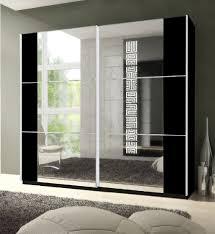Memphis Large Sliding Mirrored Wardrobe Black P8CSID02 - Amos Mann Furniture