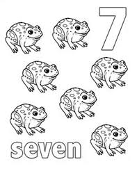 Small Picture Learn Number 7 with Seven Frogs Coloring Page Learn Number 7 with