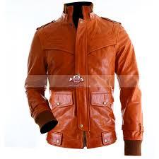 slim fit sts orange vintage er leather jacket