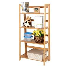 foldable shelving wooden folding shelf organizer bamboo unit with 4 tiers storage systems foldable shelving