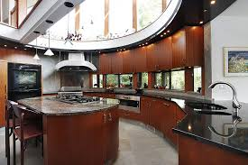 contemporary kitchens with dark cabinets. Unique, Modern Sunlit Kitchen Features Open Sky-light Ceiling And Oval Design. Dark Contemporary Kitchens With Cabinets N
