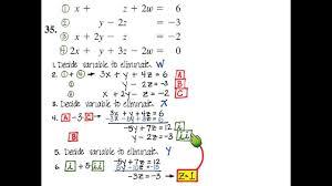 solving system of 4 variables elimination