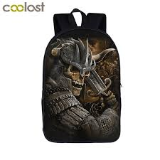 cool viking warrior pirate skull backpack for agers boys children bags students backpack kids