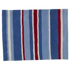 red and blue striped rug