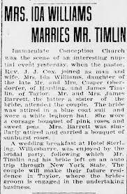 Ida Barrett Williams marriage James Timlin of Taylor marriage June 20 1918  - Newspapers.com