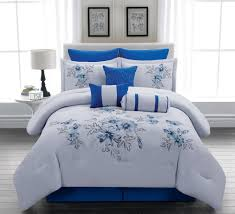 image of royal blue and white duvet cover