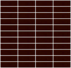 1x3 inch brown glass subway tile stacked