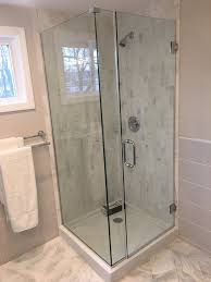 this unit has a door a panel and a return panel available in frameless style with glass to glass hinges and wall clamps or in a semi frameless style with