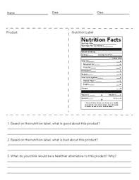 nutrition facts worksheet