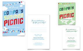 Company Picnic Template Company Summer Picnic Note Card Template Word Publisher