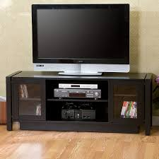 black big screen tv stand with glass bookcases