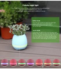 smart flowerpot altavoz bluetooth inalámbrico estéreo sonido noche lámpara pot azul