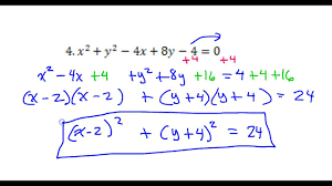 day 12 test c 4 and 5 convert the circle equation from general form to standard form