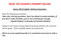 expository essay examples and explanations ppt video online  7 the example prompt below spring 2013 english i writing expository