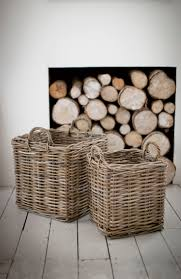 Log storage area in sitting room or basket Square Rattan Log Baskets