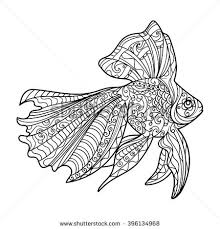 Small Picture Gold Fish Coloring Book Adults Vector Stock Vector 396134968