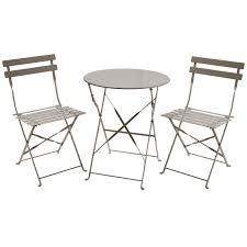 metal bistro set. 2 Seater Round Metal Bistro Set - Taupe