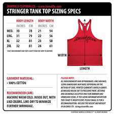 Tank Charts By Dimensions Ironville Size Charts Stringer Tank Top Clothes Clothing Co