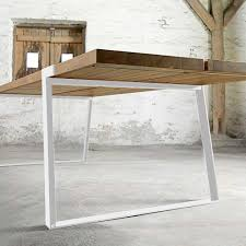Esstisch Eiche Tischplatte Weiße Tischbeine Tisch Massiv Eiche
