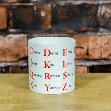 Funny airplane silhouette graphic gift word. Phonetic Alphabet Mug The Present Finder