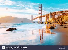 Blue Light In San Francisco Sky Famous Golden Gate Bridge Seen From Scenic Baker Beach In