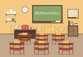classroom table vector. vector flat illustration of mathematic classroom at the school, university, institute, college. desks with books rulers, prism, pyramid, table, barrel. table o