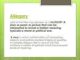 literary terms in lord of the flies ppt video online  2 allegory