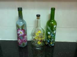 Then, I saw painted wine bottles and decided to give them a try. Nothing  lost even if I don't succeed. So, began my journey of painting the wine  bottles.
