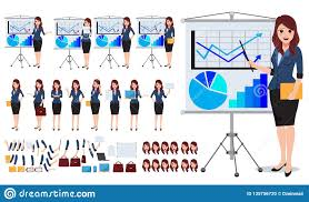 Female Business Character Vector Set Office Woman Talking