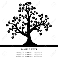 apple tree clipart black and white. apple tree isolated on black background stock vector - 13077836 clipart and white