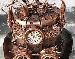 STEAMPUNK TOP HAT - Copper Steampunk Hat with Sheet Metal, Gears, Rivets,  Tubes
