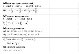 Урок по теме Повторение формул тригонометрии и использование их   На интерактивной доске все задания которые предстоит решить на следующем этапе урока Ученики выбирают и проговаривают формулы необходимые для решения