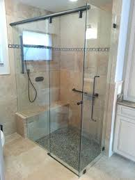 frameless sliding shower doors with bench bypass oil rubbed bronze