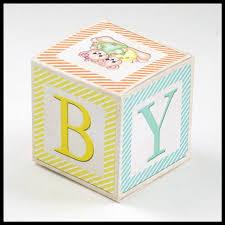 Baby Favor Box Template Gender Neutral Multi Color Alphabet Block