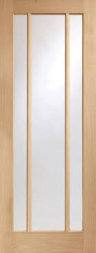 oak worcester 3 light with clear glass fire door