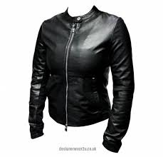 armani jeans las soft leather jacket with cotton trim jackets uk